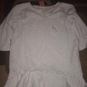 Girls size 7/8 lace detailed white shirt
